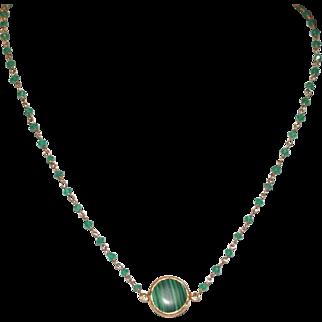 Malachite on Green Onyx Chain Necklace