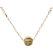 Pavé Cubic Zirconia Openwork Orb on 14K Gold Filled Chain