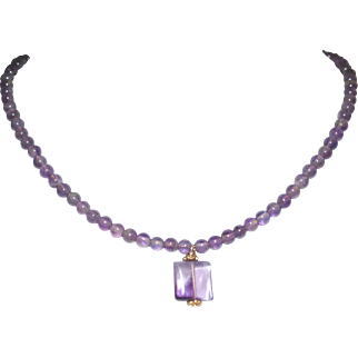 Amethyst Bead and 14K Gold Filled Necklace with Amethyst Drop