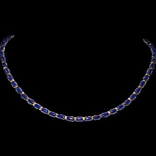 Lapis and Japanese Miyuki Gold  Beads Short Necklace