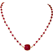 Ruby Corundum Gemstone Short Necklace