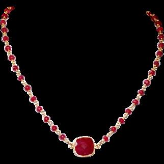 Ruby Corundum Gemstone Short Necklace