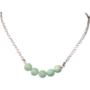 Sterling Silver and Matte Amazonite Short Necklace
