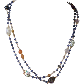 Opera  Length Iolite Chain Layering Necklace with Gemstones
