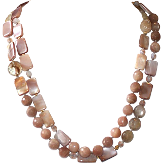 Mother of Pearl and Moonstone Long Necklace