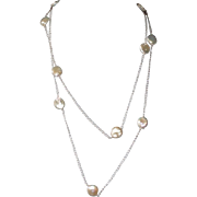 Freshwater Coin Pearls and Sterling Silver Long Layering Necklace
