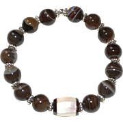 Brown Line Agate Bracelet and Vintage Mother of Pearl Inlay Focal Bead