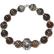 Brown Line Agate Bracelet with Silvertone Accents