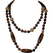 Brown Agate Long Necklace Hand knotted on Leather Cord