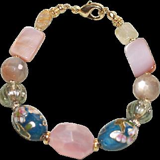 Vintage Teal Cloisonné, Rose Quartz, Moonstone and Mother of Pearl  Bracelet