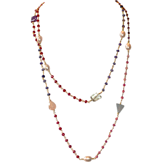Long Layering Ruby and Natural Pink Ruby Chain Necklace with Freshwater Pearls and Gemstones