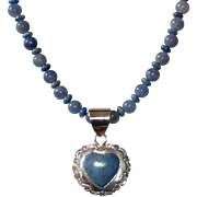 Denim Lapis and Blue Aventurine with .925 Thai Silver Heart