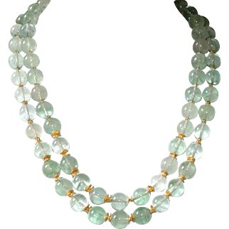 Green Fluorite Necklace with Vermeil Accents