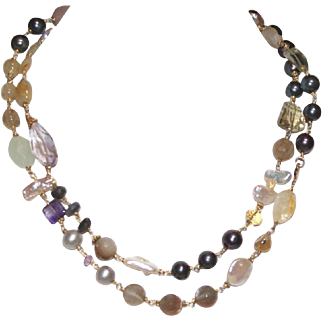 Gemstone  and Freshwater Pearl Necklace
