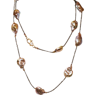 Golden Taupe Iridescent Freshwater Baroque Pearls and Faceted Pyrite Necklace