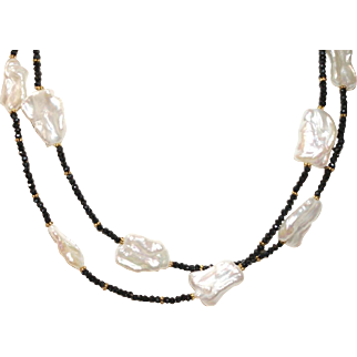 Freshwater Biwa Pearls and Faceted Black Spinel Necklace