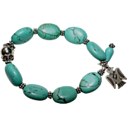 Turquoise and Bali Silver Bracelet with Sterling Silver Thunderbird Charm