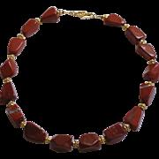 Natural Red Jasper Gemstone Nugget Necklace