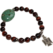 Red Tiger Eye and Bali Silver Bracelet with Sterling Silver Thunderbird