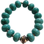 Chalk Turquoise and Bali Silver Bracelet with German Silver Focal Bead
