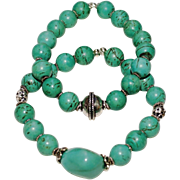 Pair of Turquoise Magnesite and Bali Silver Bracelets with German Silver and Val Verde Turquoise Nugget