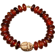 Natural Horn Disks with Carved Stone Scarab Beetle Bracelet