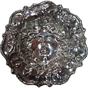 American Sterling B Whiting Repoussé Centerpiece Dish Grapevines with a Center Face