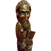 Wood Carving of Moses Holding The Ten Commandments