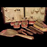 Traveling 13 piece Sterling Vanity Set In Lizard Skin Box