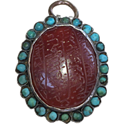 Amber Amulet Pendant In 800 Silver Frame with Turquoise