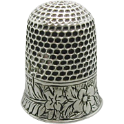 A rare bell-shaped English silver thimble. Charles Horner design.
