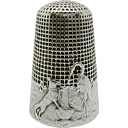 French silver fable thimble. c 1885-1900