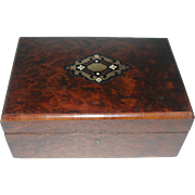 A French burl wood sewing box. c 1870