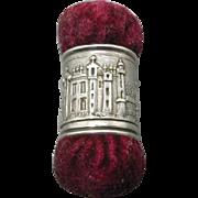 A silver Windsor Castle souvenir sewing emery. c 1840