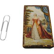 Needle packet box with print of Queen Victoria. c 1850