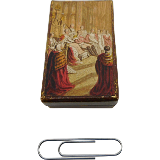 Miniature needle packet box- Queen Victoria and Prince Albert. c 1850