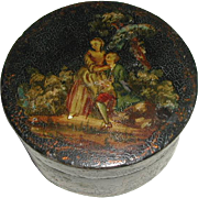 A French painted and lacquered vernis martin candy box.  Late 18th / early 19th century