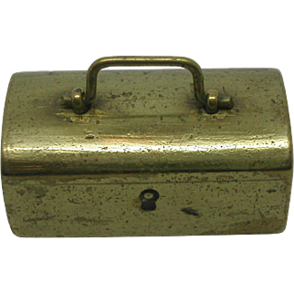 Doll's brass box+ contents. Victorian.