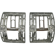 A pair of Greaves close plated steel shoe buckles. 18th century.