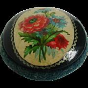 A floral Mauchline Ware pin cushion. c 1890