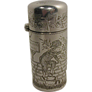 A Sampson Mordan silver scent bottle with Kate Greenaway decoration. HM 1882
