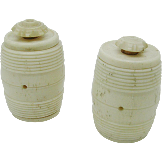 Two mutton bone cotton barrels. c 1800