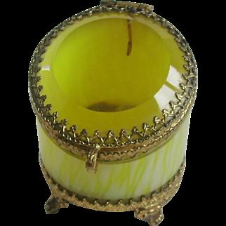 A yellow glass pocket watch / ring box. c 1870-1880