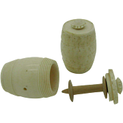 A pair of Georgian bone cotton barrels. c 1790 Spool holders