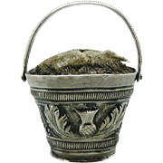 Scottish thistle decorated silver pin cushion basket. c 1820