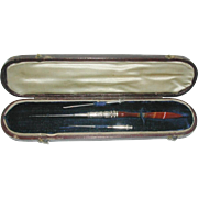 An agate crochet hook- boxed. c 1860