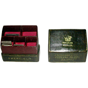 J. Rodgers Cutlers Sheffield leather needle box and needle packets.
