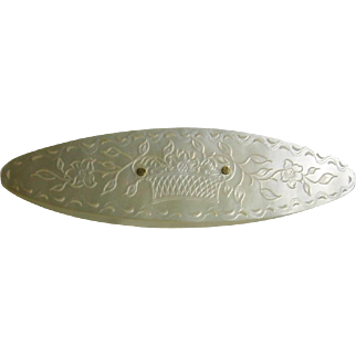 A large engraved mother of pearl knotting shuttle c 1800