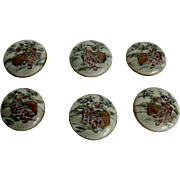 A set of six Satsuma earthenware buttons. c 1900