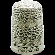 An English silver 'blackberry' thimble. J. Fenton 1921